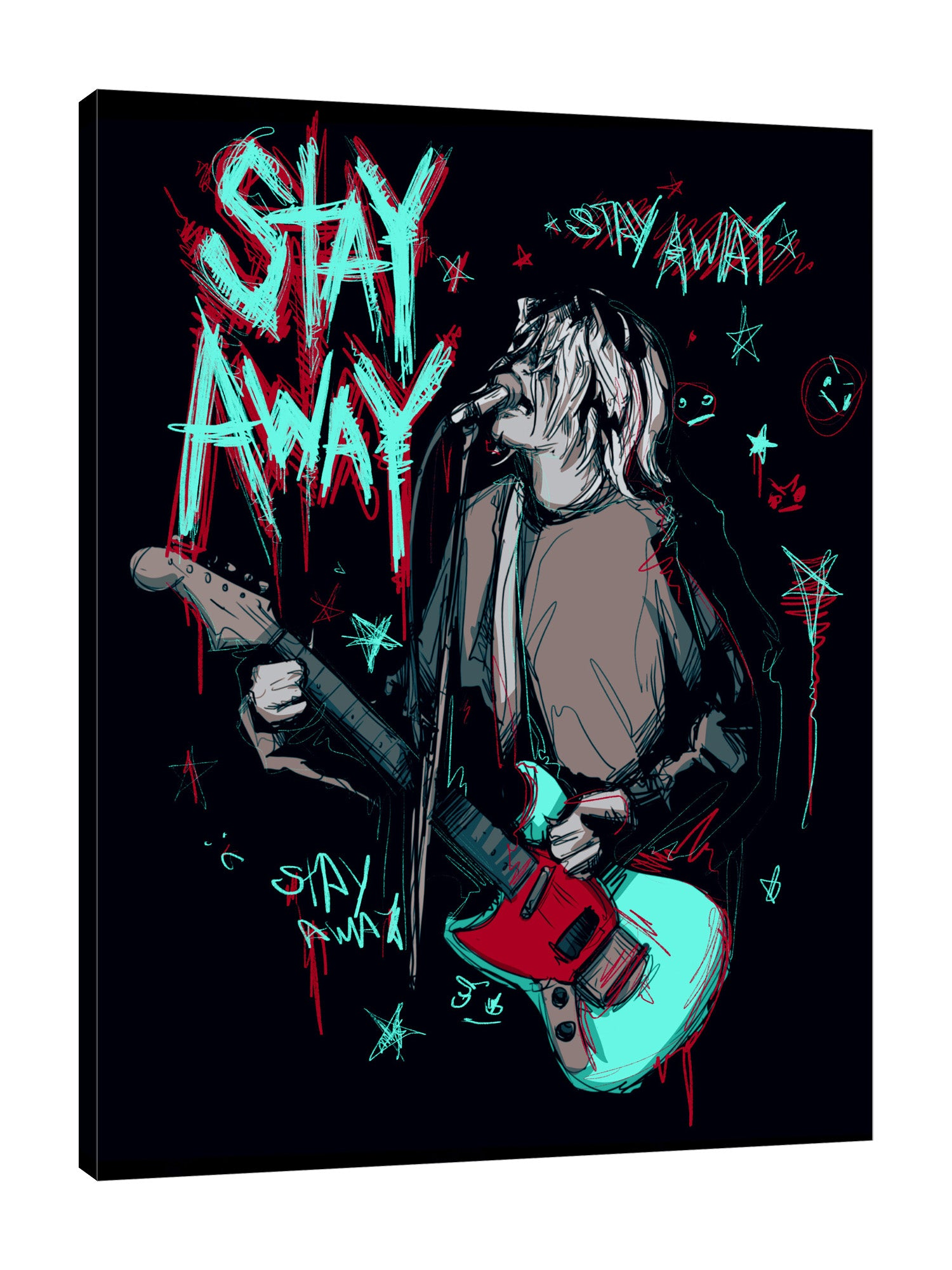 Ludwig-Van-Bacon,Vertical,3X4,Modern & Contemporary,People,Entertainment,entertainer,singer,musician,guitar,guitars,scribble,scribbles,words,stay away,star,stars,singing,mic,music,Forest Green,Red,Black,Charcoal Gray,Purple,Blue