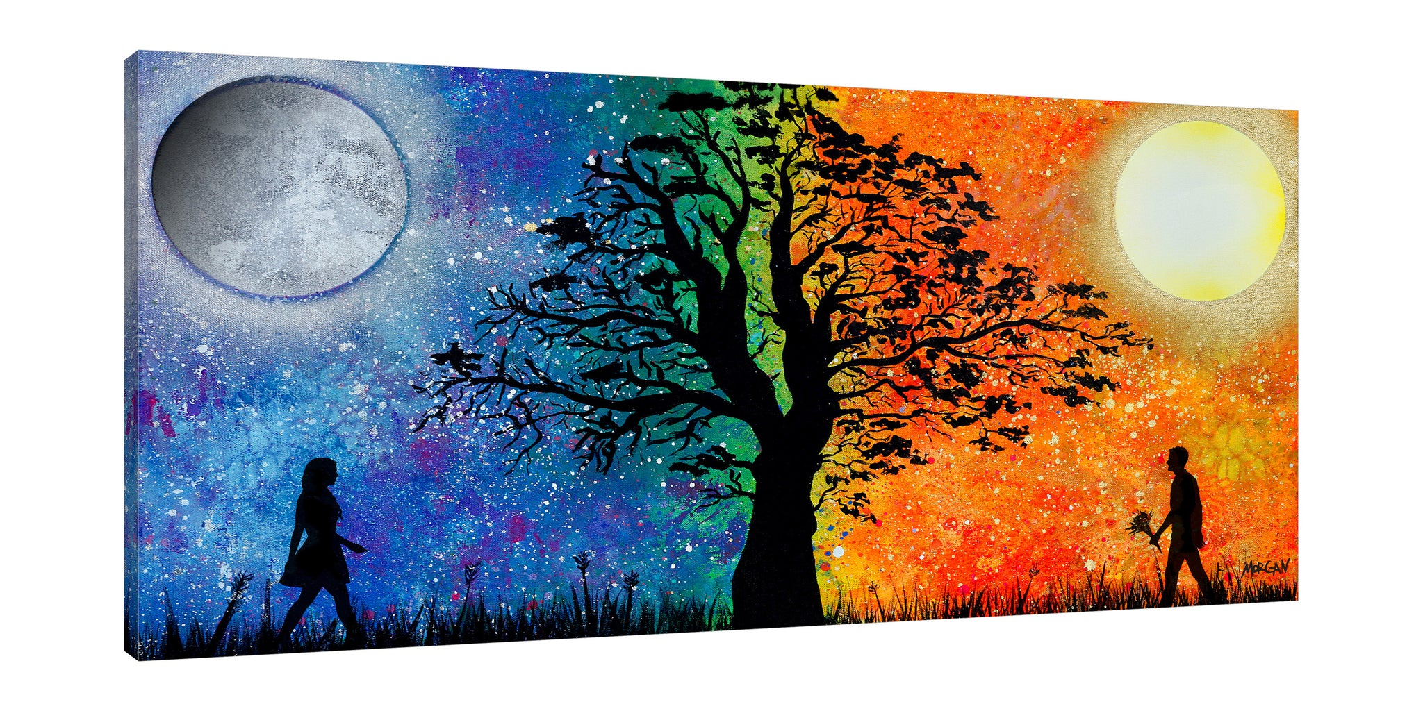 Morgan-Richardson,Horizontal,2X1,Modern & Contemporary,People,Entertainment,Landscape & Nature,couple,people,night,day,sun,moon,trees,tree,hope,passion,love,blue,yellow,Red,Lavender Purple,Gray,Mint Green,Sea Green,Blue,Black,Charcoal Gray,Green
