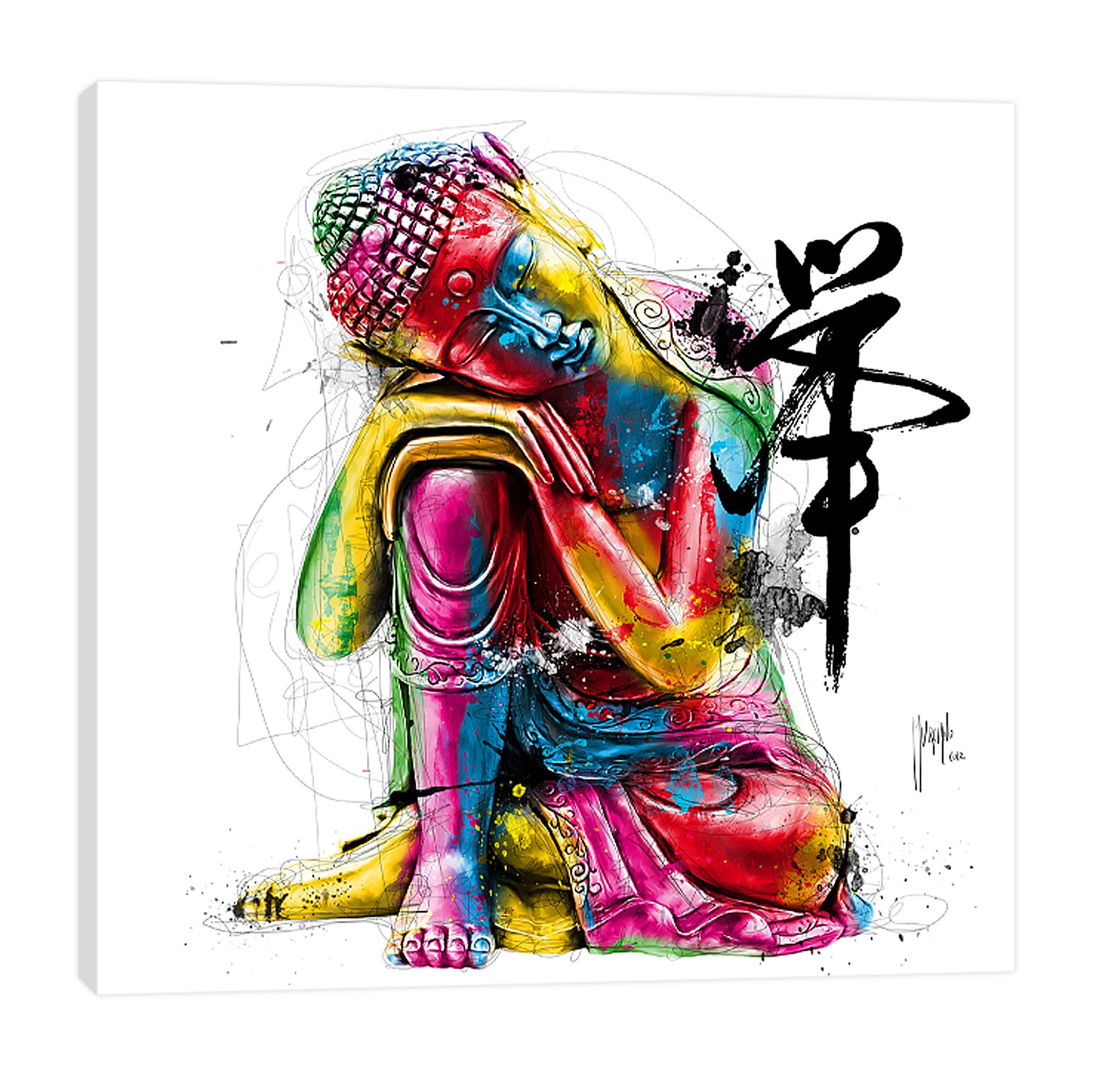 Patrice-Murciano,Modern & Contemporary,People,buddha,people,ombre,splatter,lines,figure,Red,Purple,Mist Gray,Tan Orange,Gray