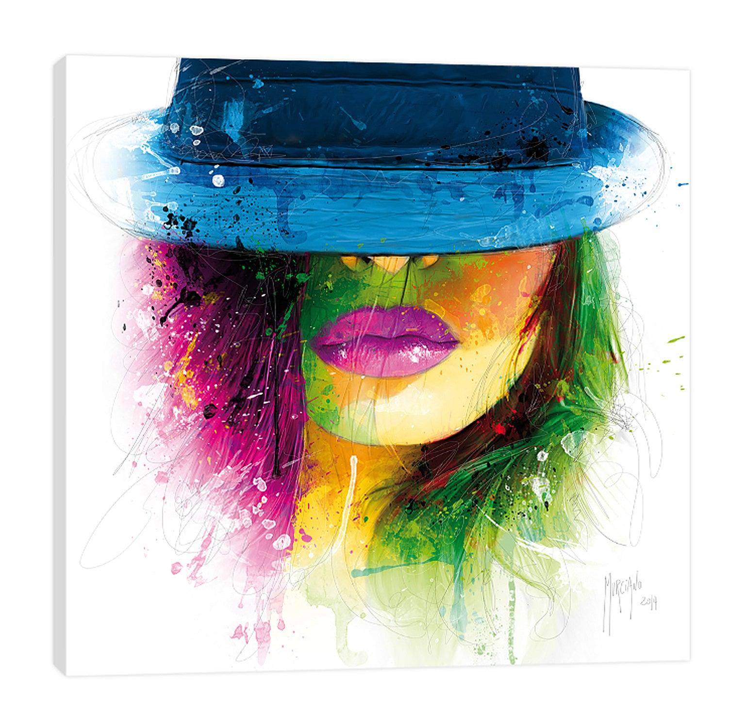Patrice-Murciano,Modern & Contemporary,People,Fashion,woman,lady,lines,ombre,splatters,eyes,eyeshadow,fashion,hat,Navy Blue,Pale Green,Green,Mist Gray,White,Black,Gray