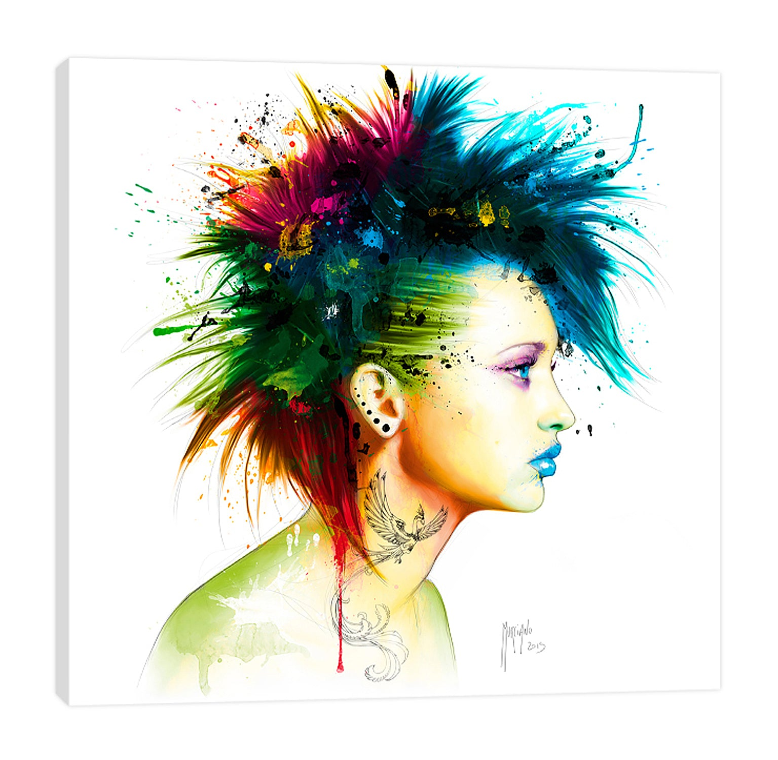 Patrice-Murciano,Modern & Contemporary,People,Fashion,fashion punk,punk,woman,lady,earrings,tattoes,mohawk,ombre,Tan White,Sea Green,Gray,Tan Orange,White
