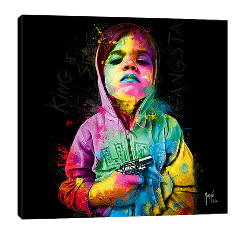 Patrice-Murciano,Modern & Contemporary,People,gangsta child,child,gun,guns,violence,hoodie,ombre,splatters,Charcoal Gray,Sky Blue,Green,Lavender Purple,Brown,Baby Blue,White,Black