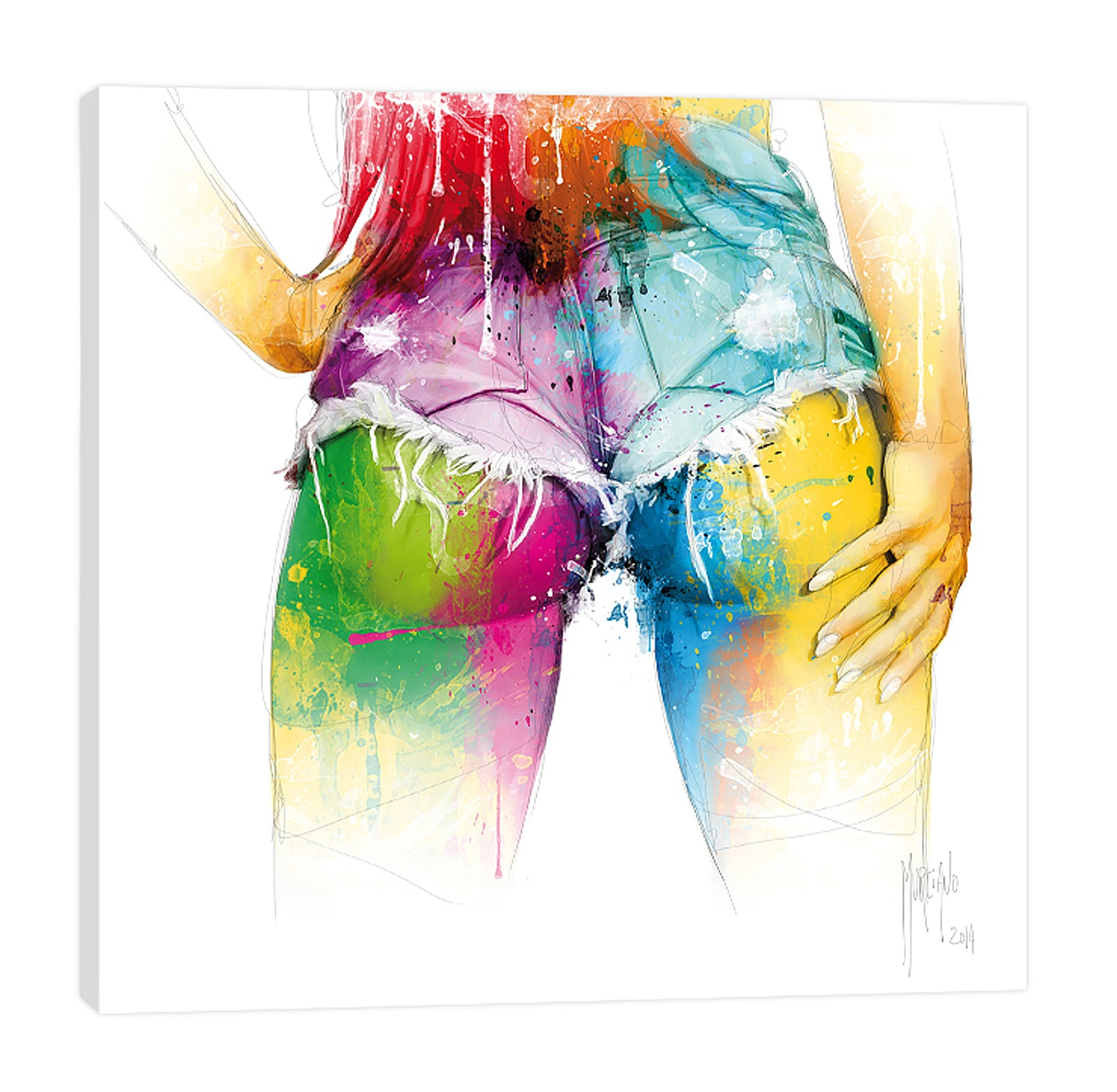 Patrice-Murciano,Modern & Contemporary,People,preston lee,woman,lady,butt,shorts,jeans,ombre,fashion,splatters,Pale Yellow,White,Purple,Blue,Salmon Pink,Cranberry Red