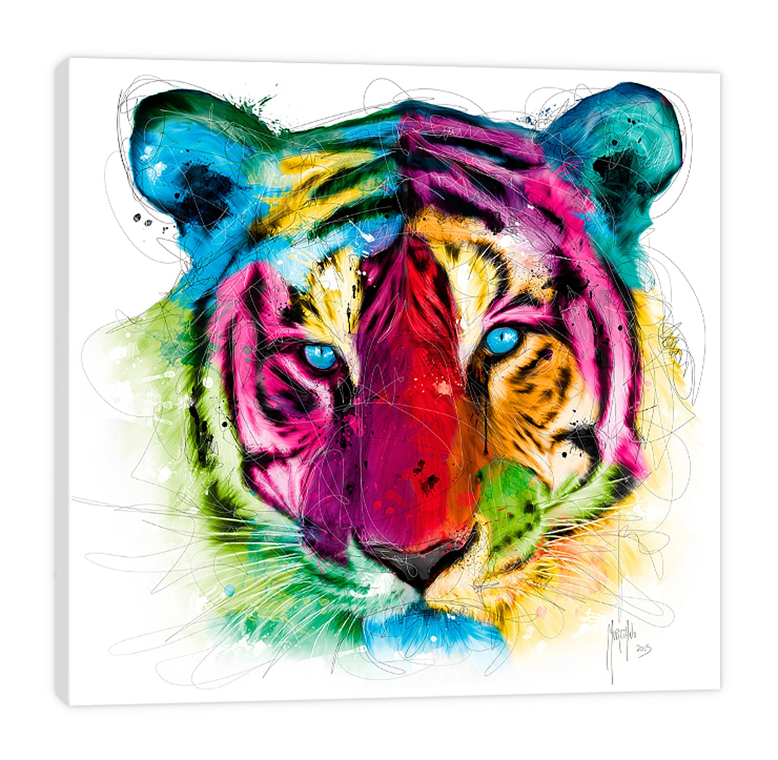 Patrice-Murciano,Modern & Contemporary,Animals,tiger,tigers,animals,ombre,lines,colorful,Red,Mist Gray,Black,Gray,Green,Lavender Purple,Blue,Brown