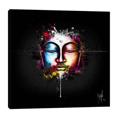 Patrice-Murciano,Modern & Contemporary,People,buddha,people,ombre,splatter,lines,figure,Red,Charcoal Gray,Gray,Purple,Black