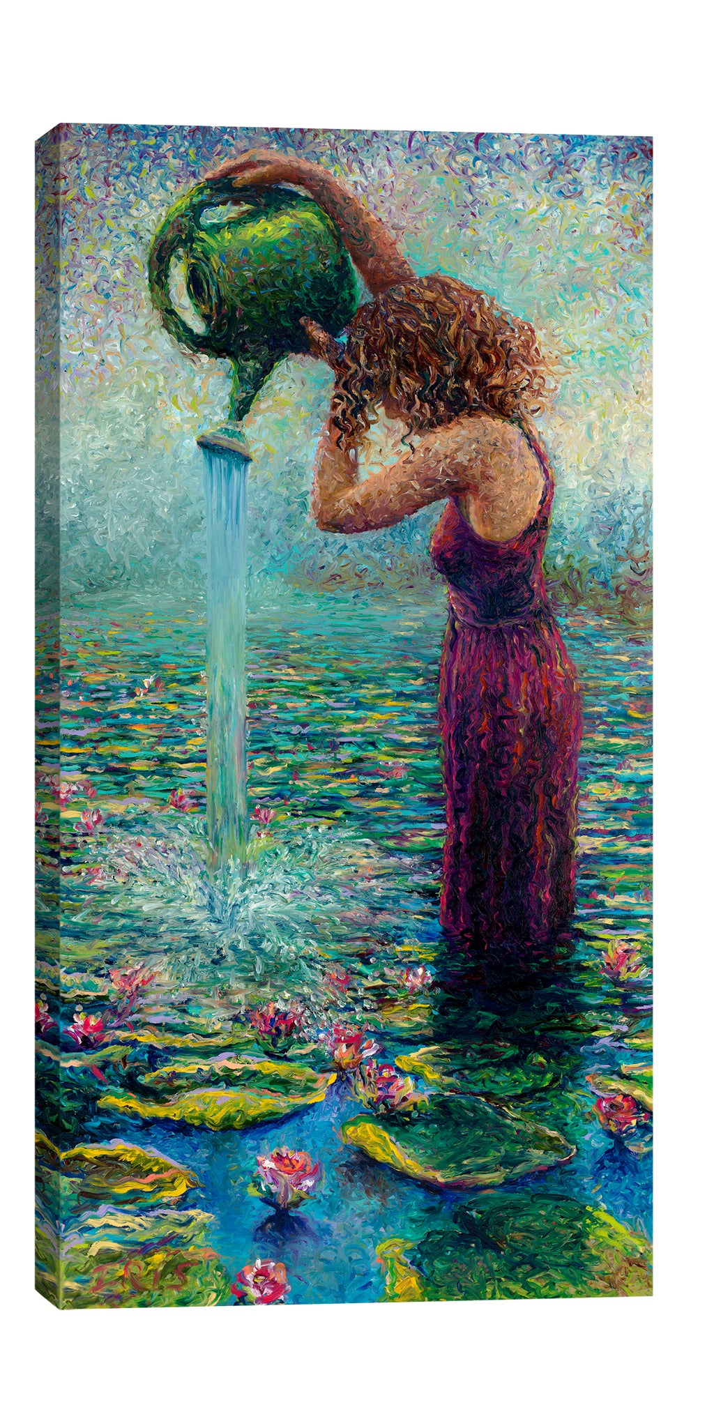 Iris-Scott,Modern & Contemporary,People,flowers,florals,leaves,lily pads,woman,dresses,women,lady,water lilies,water lily,