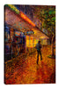 Iris-Scott,Modern & Contemporary,Buildings & Cityscapes,man,jacket,trees,lights,buildings,stores,tree,