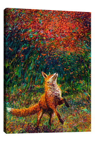 Iris-Scott,Modern & Contemporary,Animals,foxes,animals,fox,animal,trees,fall,falling leaves,trees,