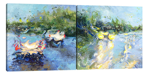 Iris-Scott, impressionism, Abstract, cars, forests, Iris-Scott, lights, Modern & Contemporary, streets, trees, multi-panel