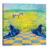 Iris-Scott,Modern & Contemporary,Animals,animals,dogs,horses,mountains,blur,tiles,squares,green,yellow,