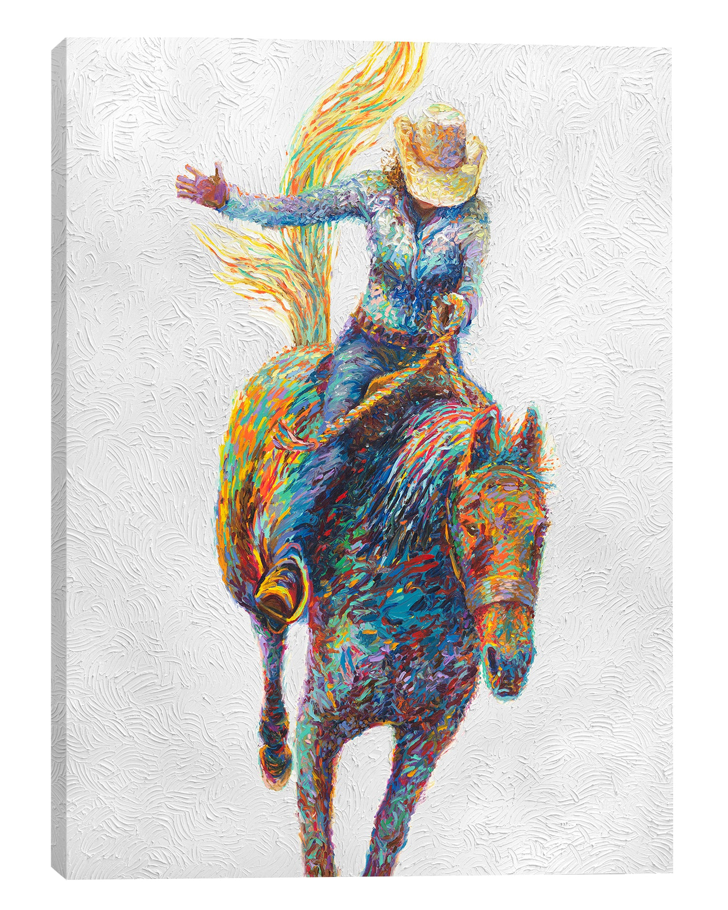 Iris-Scott,Modern & Contemporary,People,Animals,woman,rodeo,horse,hats,cowboy,horses,animals,