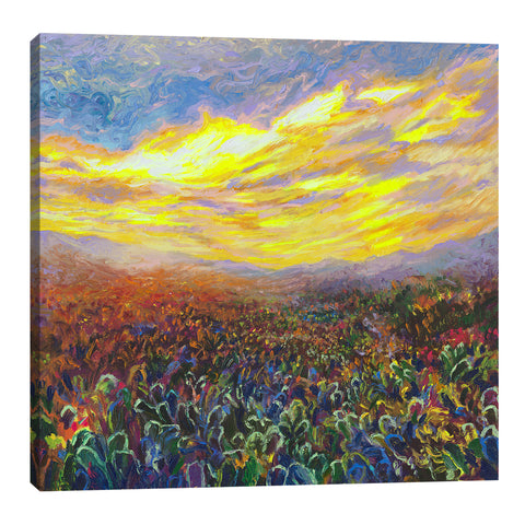 Iris-Scott,Modern & Contemporary,Landscape & Nature,clouds,suns,skies,florals,flowers,landscape,mountains,