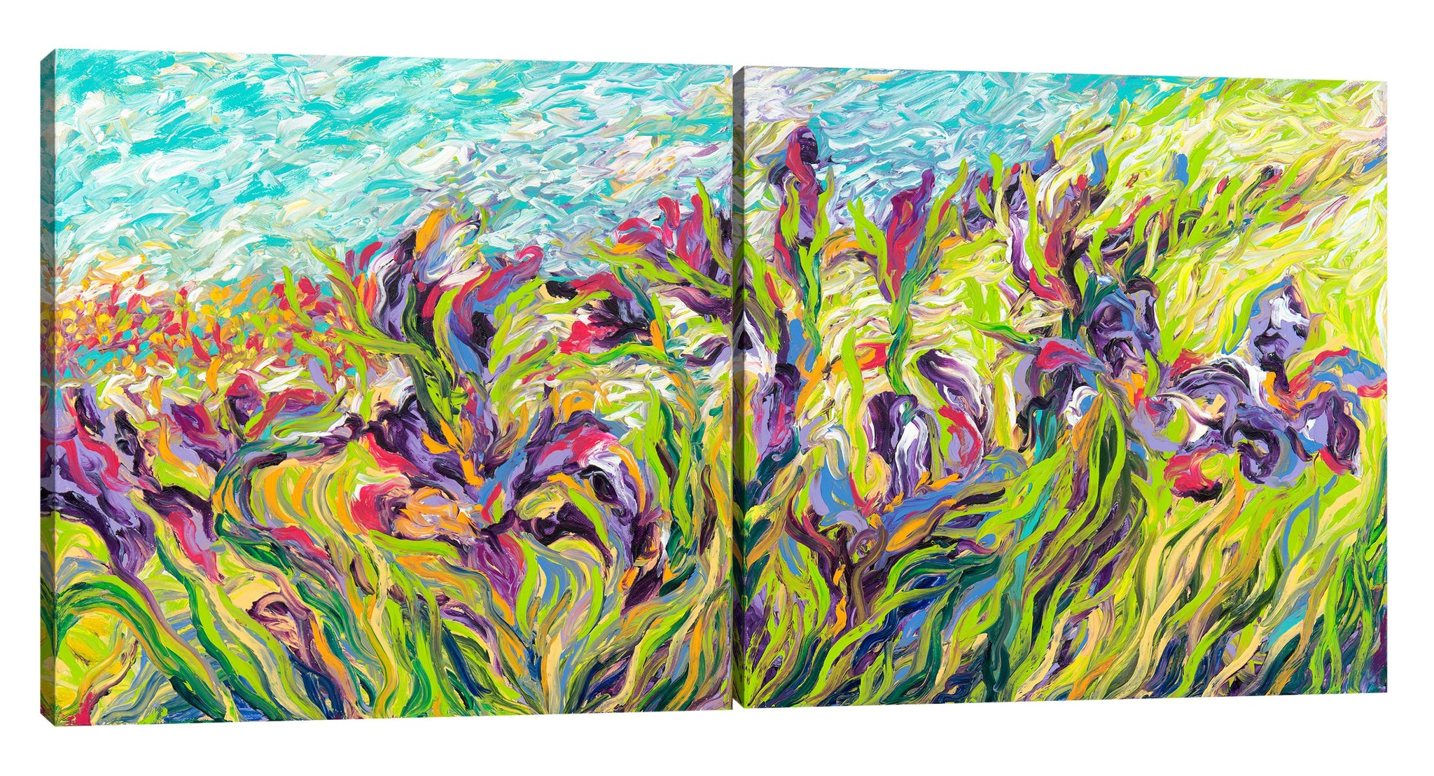 Iris-Scott, impressionism, clouds, floral, Floral & Botanical, florals, flower, flowers, Iris-Scott, leaves, Modern & Contemporary, skies, multi-panel