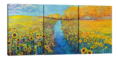 Iris-Scott, impressionism, clouds, Floral & Botanical, florals, flowers, Iris-Scott, landscape, Modern & Contemporary, skies, sunflower, sunflowers, trees, multi-panel