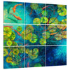 Iris-Scott, impressionism, animal, Animals, fish, Iris-Scott, lilies, lily pods, Modern & Contemporary, ponds, water, multi-panel