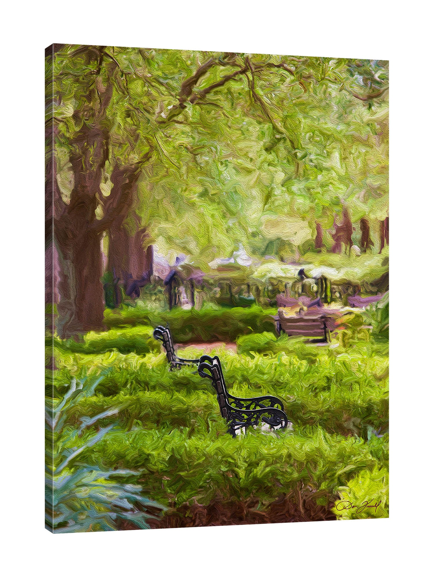 Don-Farrall,Modern & Contemporary,Landscape & Nature,trees,tree,chairs,bench,grass,landscape,swirls,Red,Charcoal Gray,Gray,Blue,Jade Blue