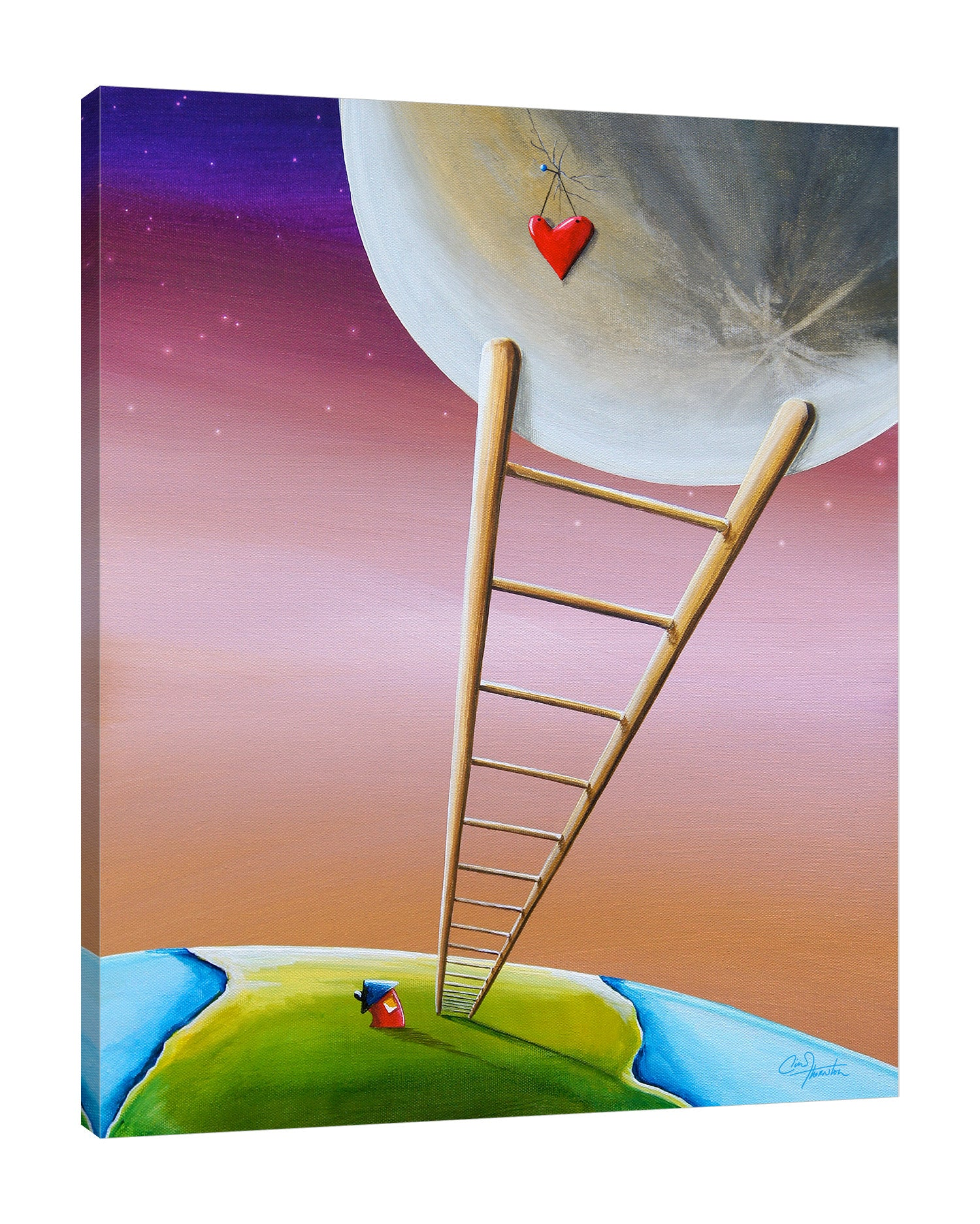 Cindy-Thornton,Modern & Contemporary,Fantasy & Sci-Fi,stairs,moon,earth,heart,Tan Brown,Gray,Rose Brown,Brown,Charcoal Gray,Purple,Cranberry Red,Blue,White