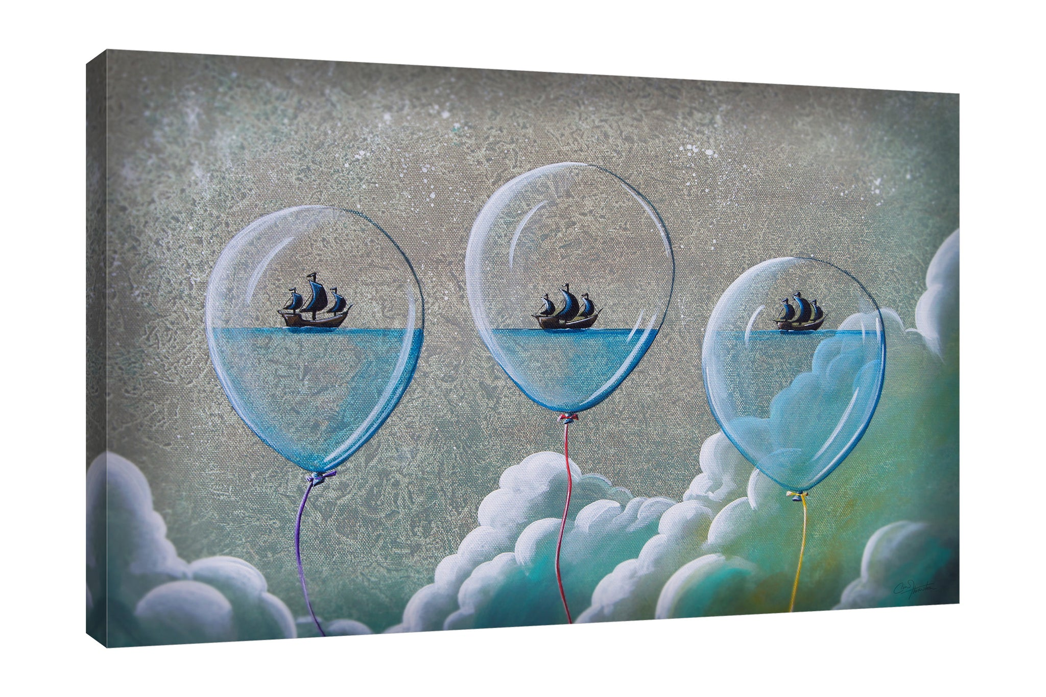Cindy-Thornton,Modern & Contemporary,Nautical & Beach,balloons,boats,skies,coastal,Red,Blue,Purple,Gray,Army Green,Charcoal Gray,Turquoise Blue