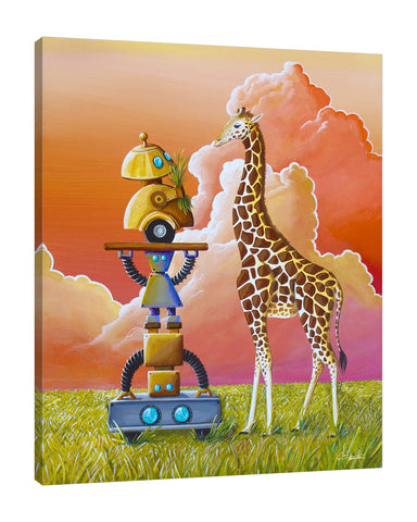 Cindy-Thornton,Modern & Contemporary,Fantasy & Sci-Fi,giraffe,clouds,skies,animals,robots,Nude White,Gray,Purple,Blue,Lavender Purple,Charcoal Gray