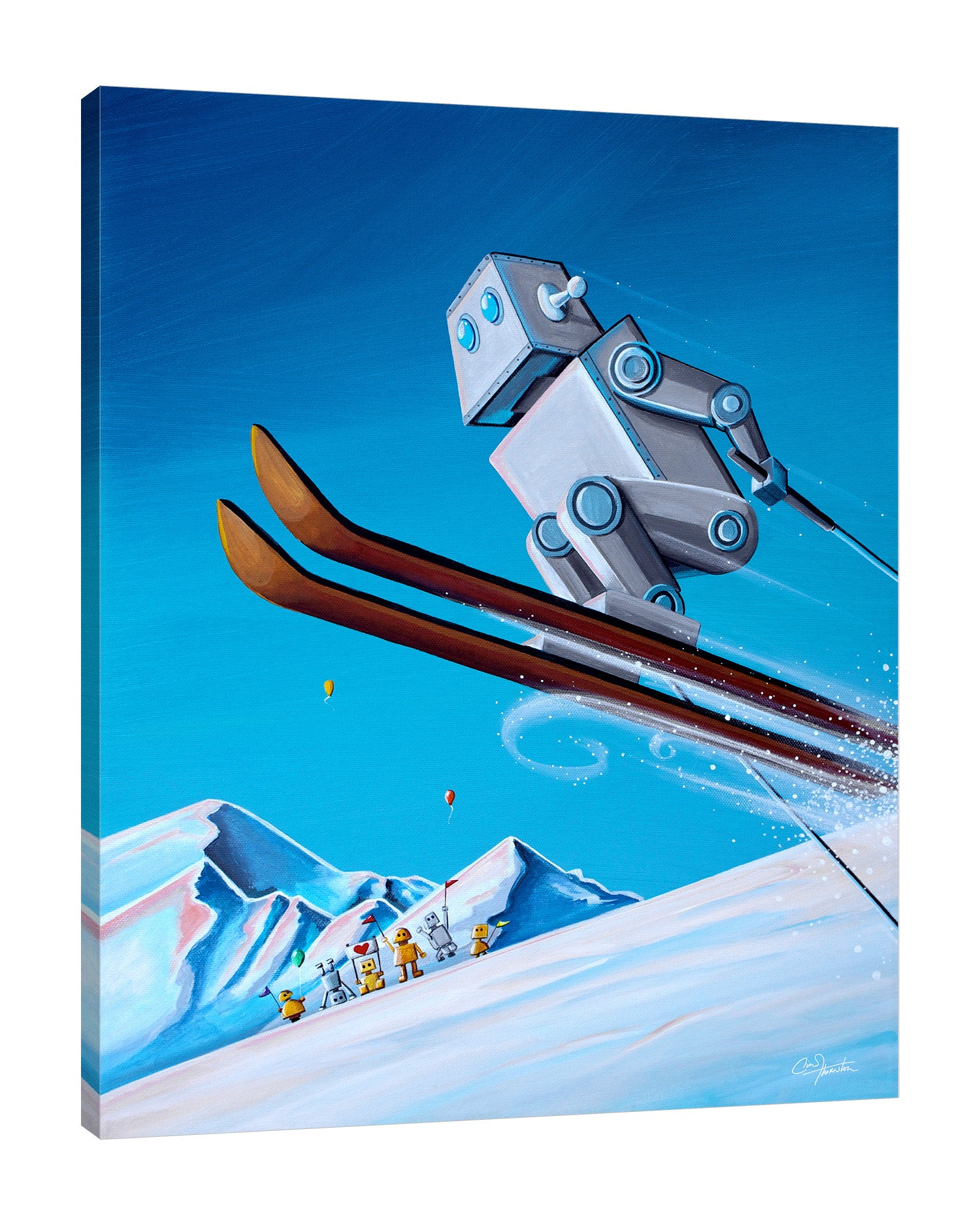 Cindy-Thornton,Modern & Contemporary,Fantasy & Sci-Fi,robot,skiing,snow,mountain,Steel Blue,Teal Blue,Charcoal Gray,Blue,White,Black,Gray