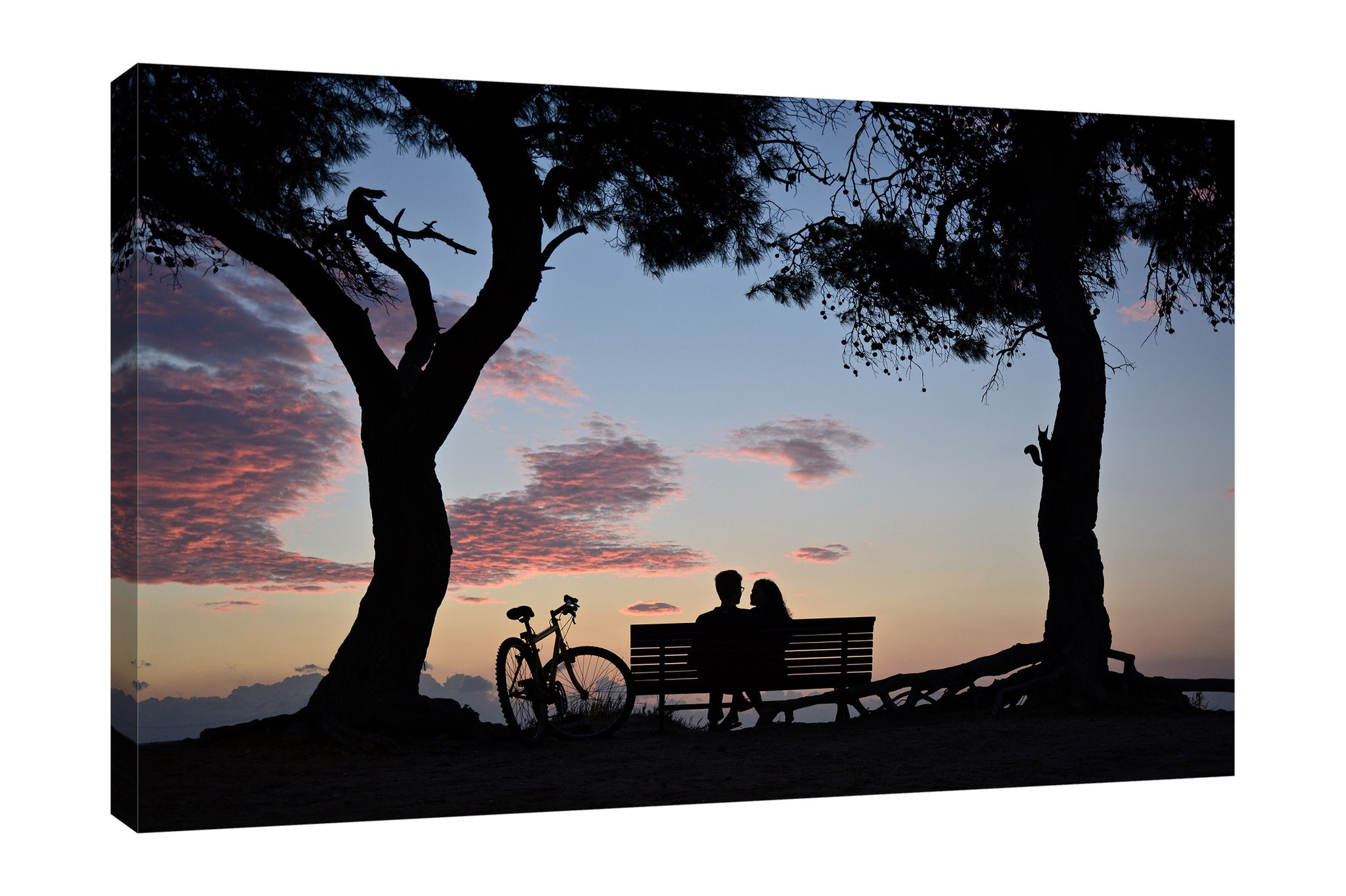 Dominic-Liam,Modern & Contemporary,People,couple,bench,trees,forests,bikes,Red,Black,Blue Gray,Purple,Cranberry Red,Gray,Sea Green,Blue