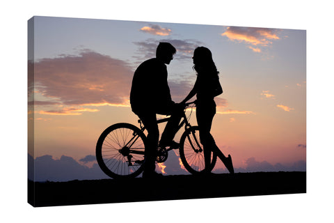 Dominic-Liam,Modern & Contemporary,People,silhoutte,couple,bikes,skies,clouds,Red,Black,Purple,Gray,Blue,Sky Blue