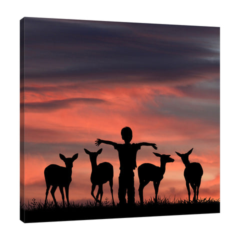 Dominic-Liam,Modern & Contemporary,Animals,silhoutte,deers,animals,boy,Red,Blue,Black,Gray,Green,Purple,Charcoal Gray,Mist Gray,Midnight Purple
