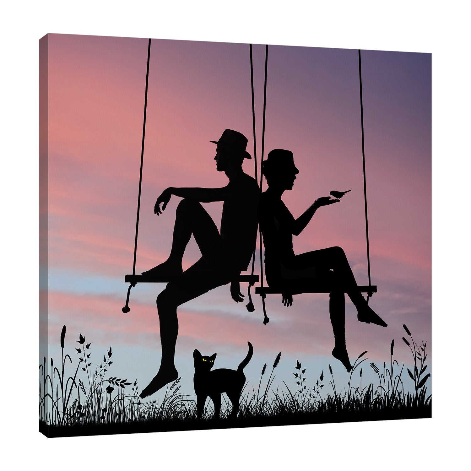 Dominic-Liam,Modern & Contemporary,People,couple,swings,silhoutte,cat,animals,Purple,Black,Blue Gray,Red,White,Gray