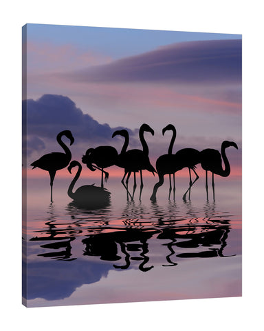 Dominic-Liam,Modern & Contemporary,People,flamingoes,flamingo,skies,coastal,Red,Black,Teal Blue,Charcoal Gray,Blue,White,Gray