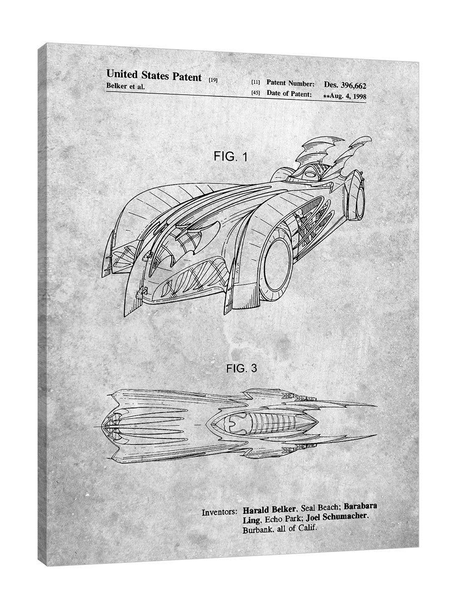 Cole-Borders,Modern & Contemporary,Transportation,PP16,Transportation,Typography & Symbols,cars,blueprints,drawing,planning,patent,model,Batman,Batmobile,