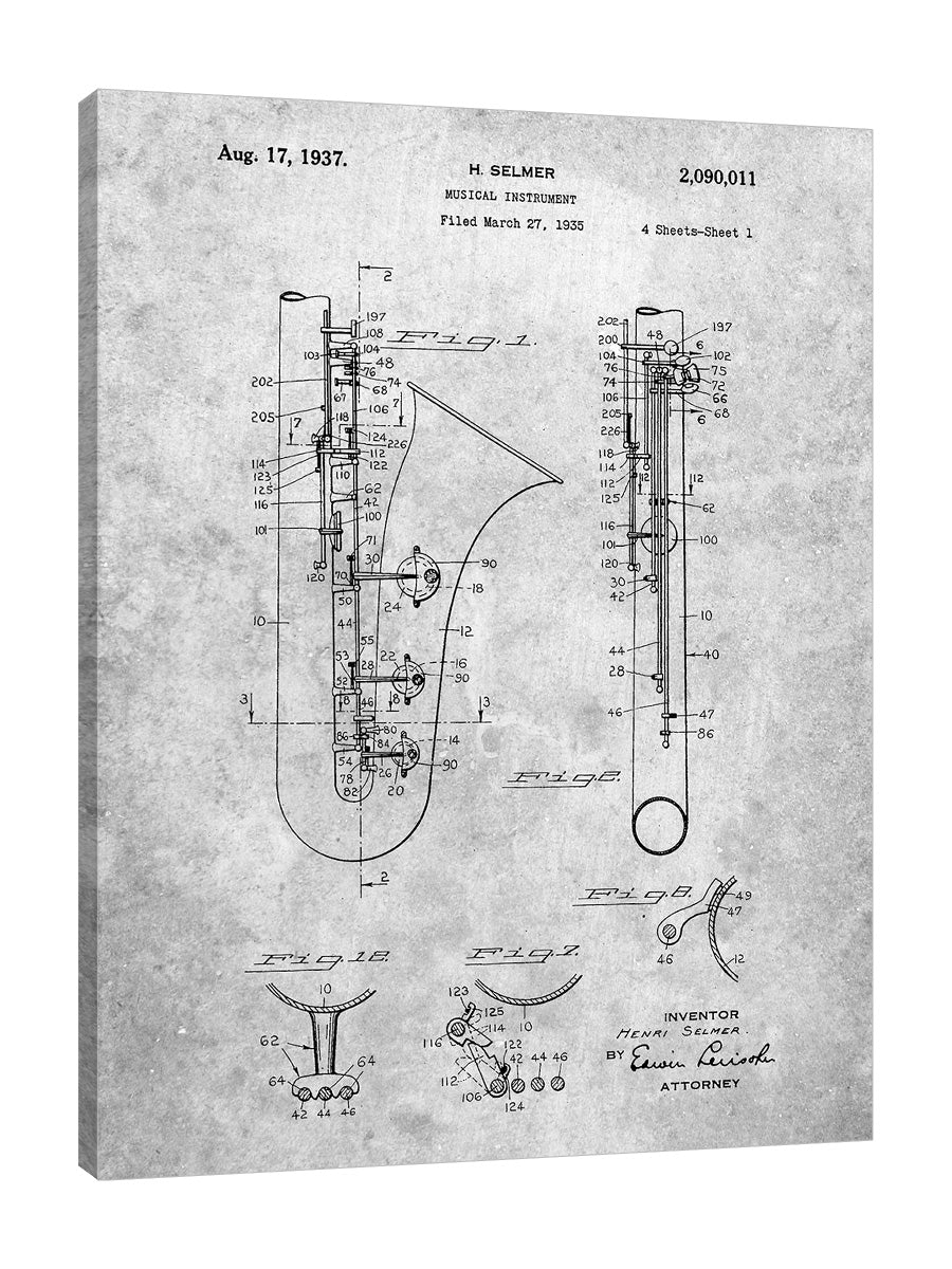Cole-Borders,Modern & Contemporary,Entertainment,PP156,Performing Arts,blueprints,drawing,planning,patent,model,music,instruments,saxophone,