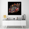 Arian-Camilleri,Modern & Contemporary,Entertainment,flowers,cosmos,black,colorful,Red,Charcoal Gray,Slate Gray,Gray,Rose Brown,Black