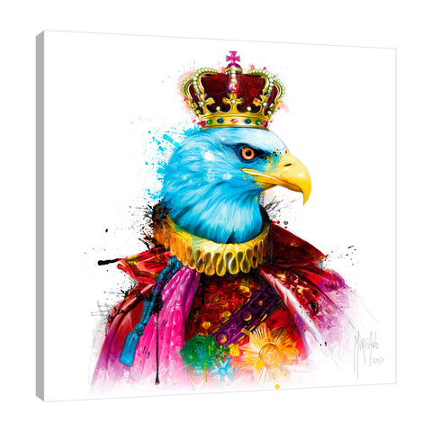 Patrice-Murciano,Modern & Contemporary,Animals,eagle,royal,crown,red,splatter,Red,Purple,Charcoal Gray,Mist Gray,Coral Pink