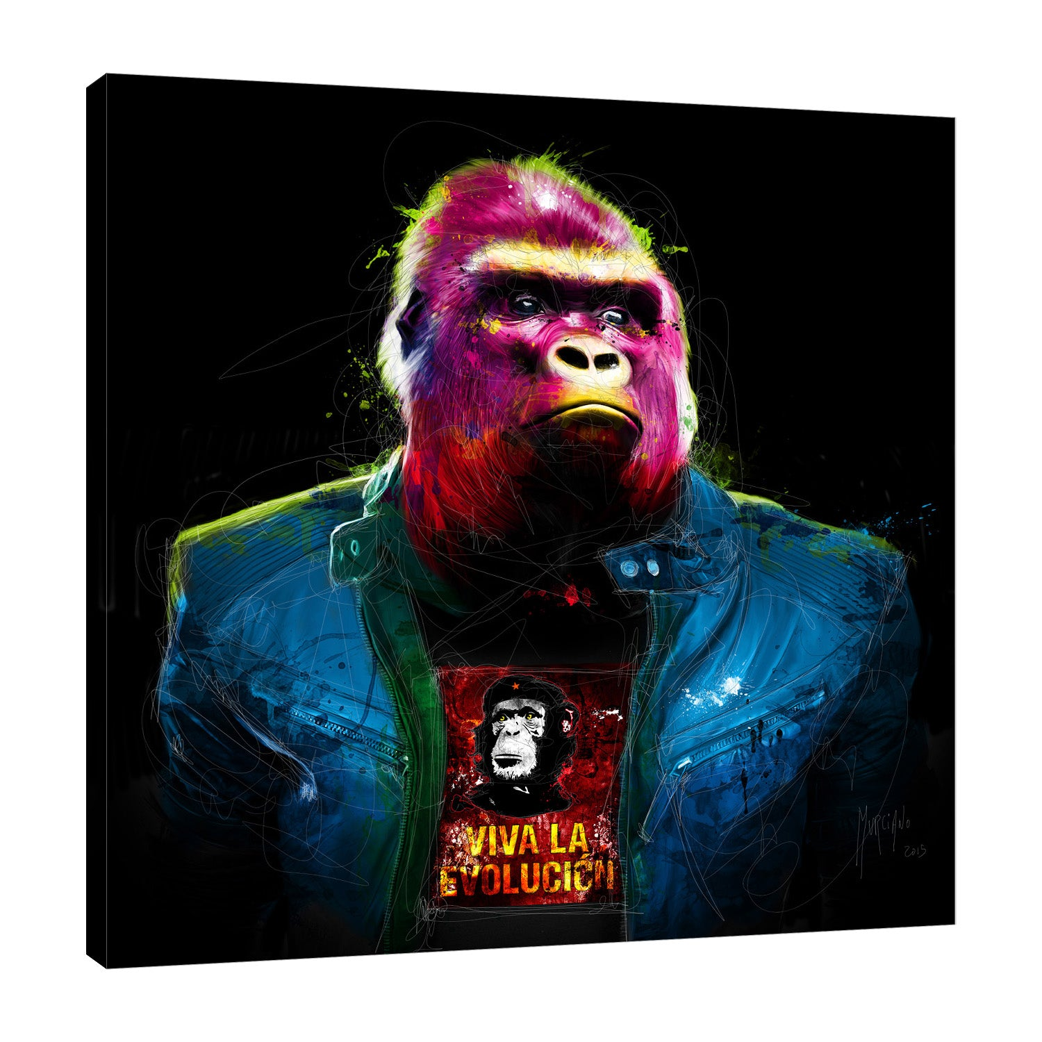 Patrice-Murciano,Modern & Contemporary,Animals,gorilla,animals,jackets,pink,Red,Gray,Purple,Blue,Charcoal Gray,Black