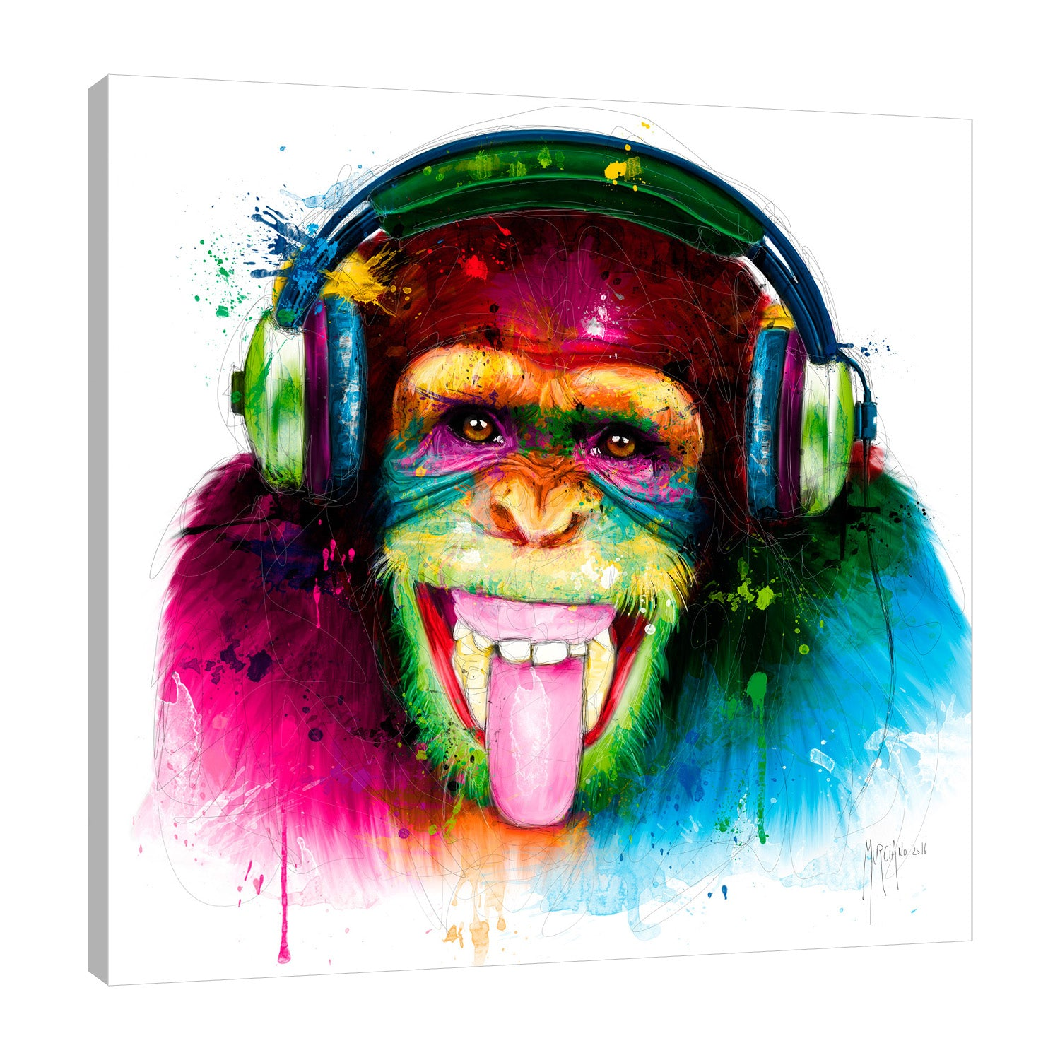 Patrice-Murciano,Modern & Contemporary,Animals,monkey,dj,music,paint drips,Sea Green,Coral Pink,Charcoal Gray,White,Black,Gray