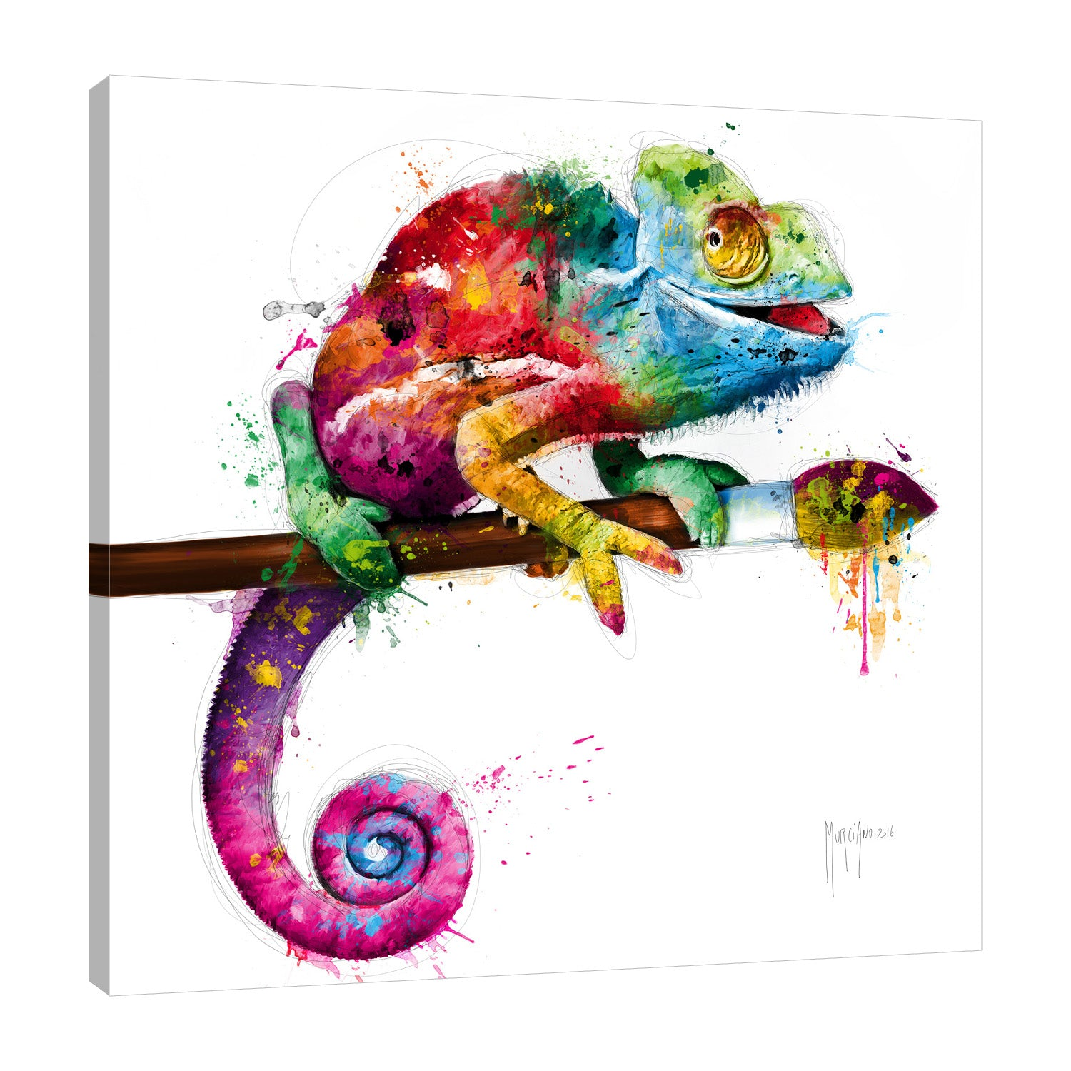 Patrice-Murciano,Modern & Contemporary,Animals,camflouge,iguana,paintbrush,paint drips,Red,Mist Gray,Charcoal Gray,Coral Pink