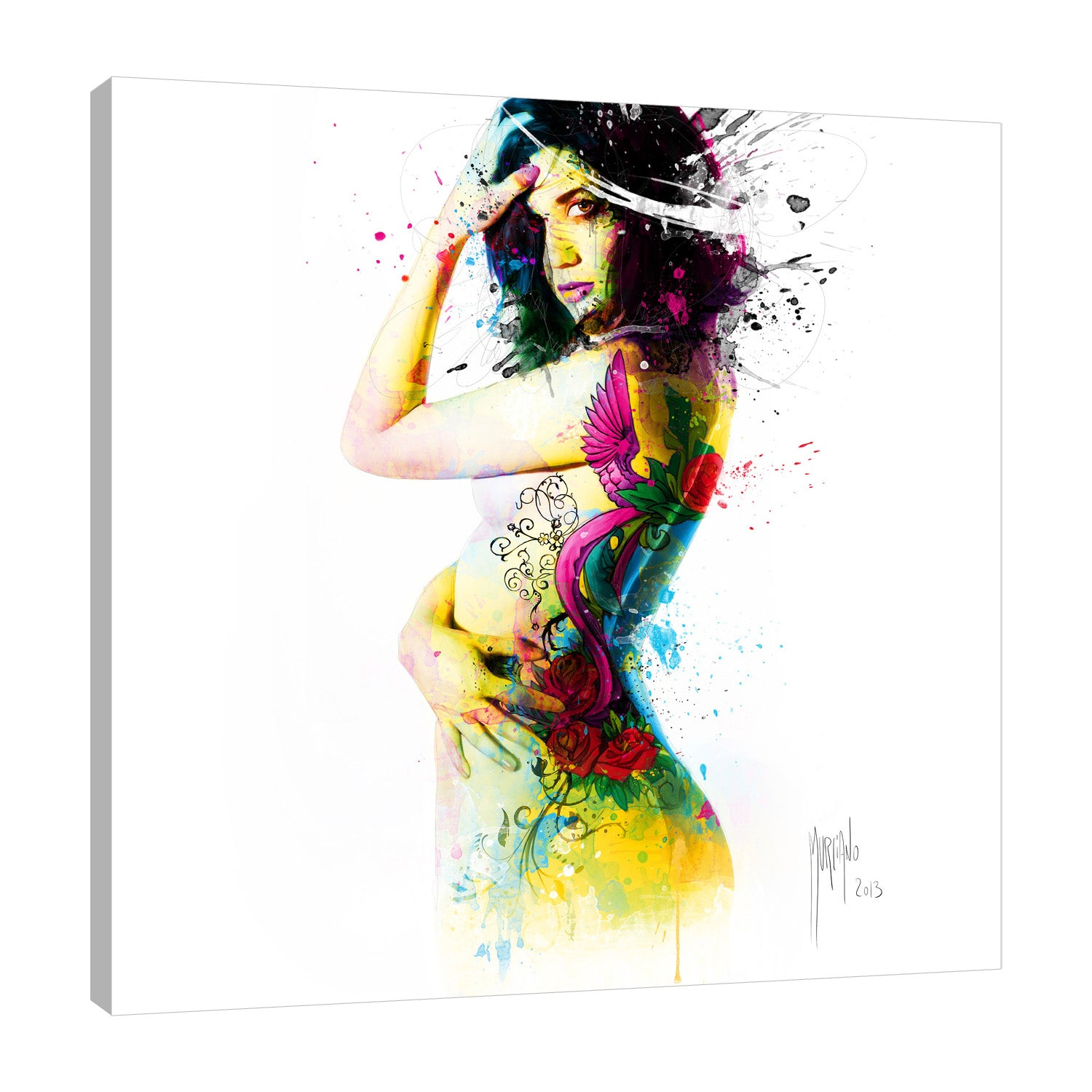 Patrice-Murciano,Modern & Contemporary,Floral & Botanical,woman,flowers,florals,splatters,Salmon Pink,Black,White,Gray