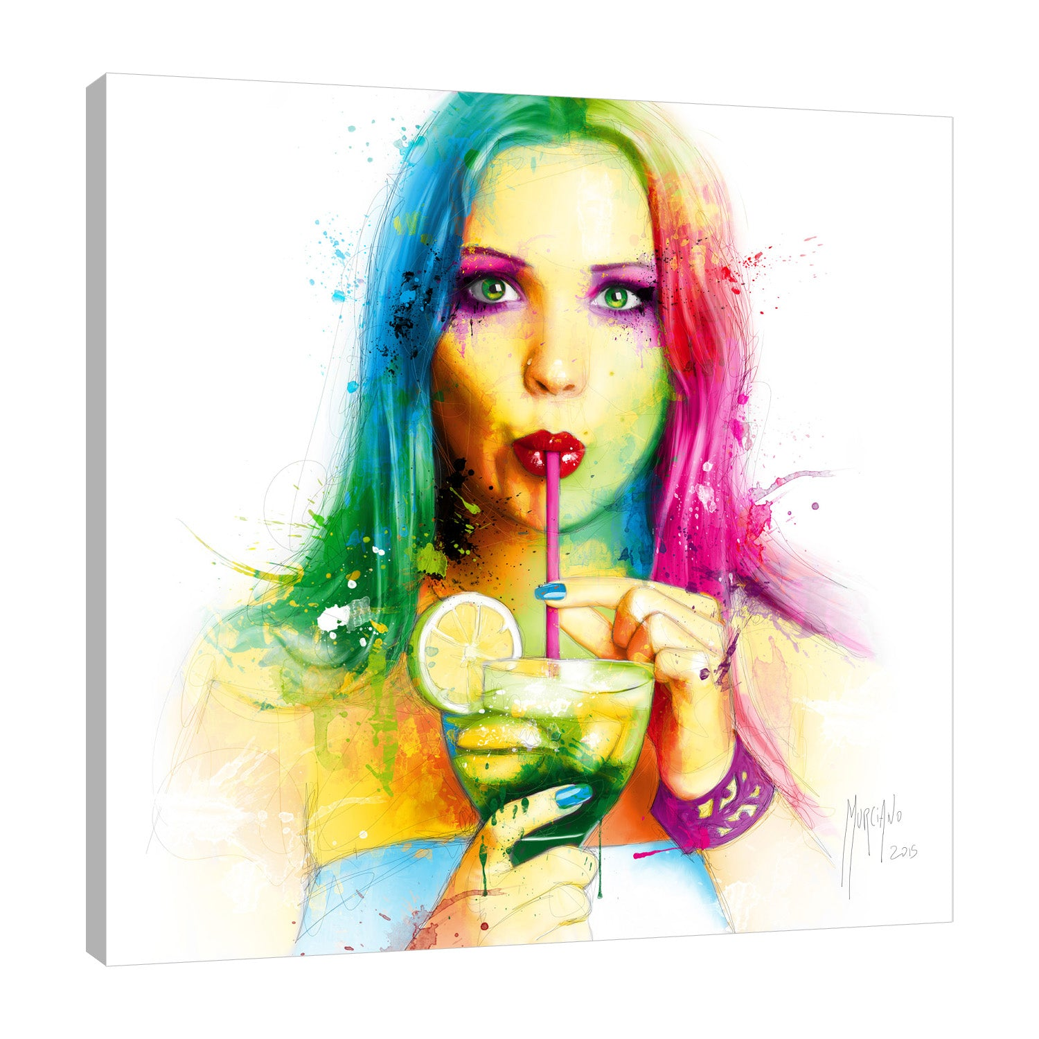 Patrice-Murciano,Modern & Contemporary,People,salsa,caliente,woman,ombre,Coral Pink,Gray,White,Mist Gray,Tan Orange