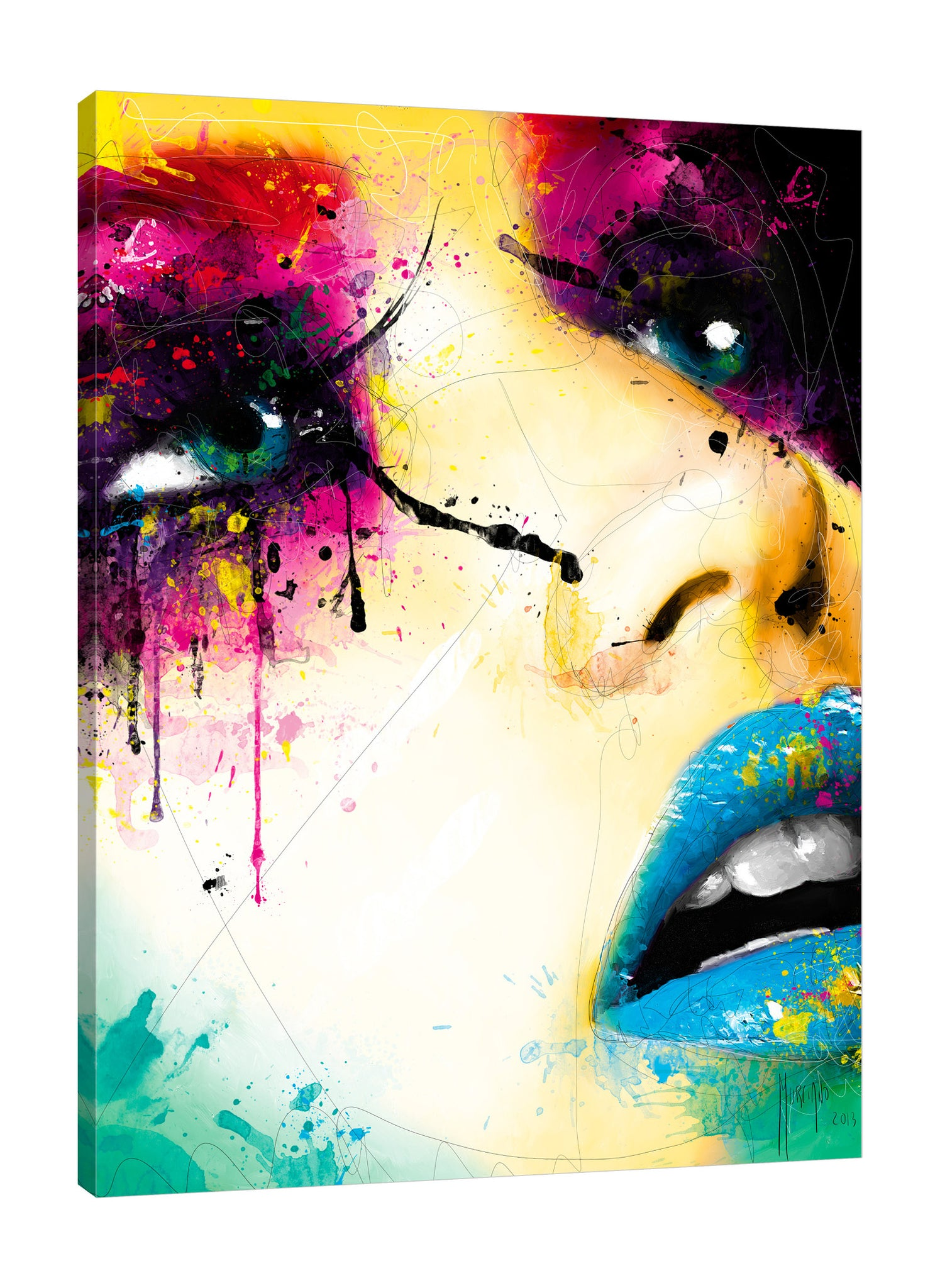 Patrice-Murciano,Modern & Contemporary,People,woman,paint drips,lines,fashion,Purple,Charcoal Gray,Rose Brown,Tan White,Gray,Tan Khaki,White,Black