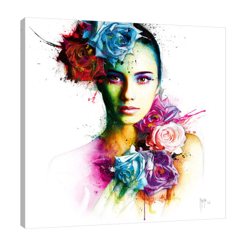 Patrice-Murciano,Modern & Contemporary,Floral & Botanical,woman,flowers,florals,splatters,Blue,Slate Gray,Red,White