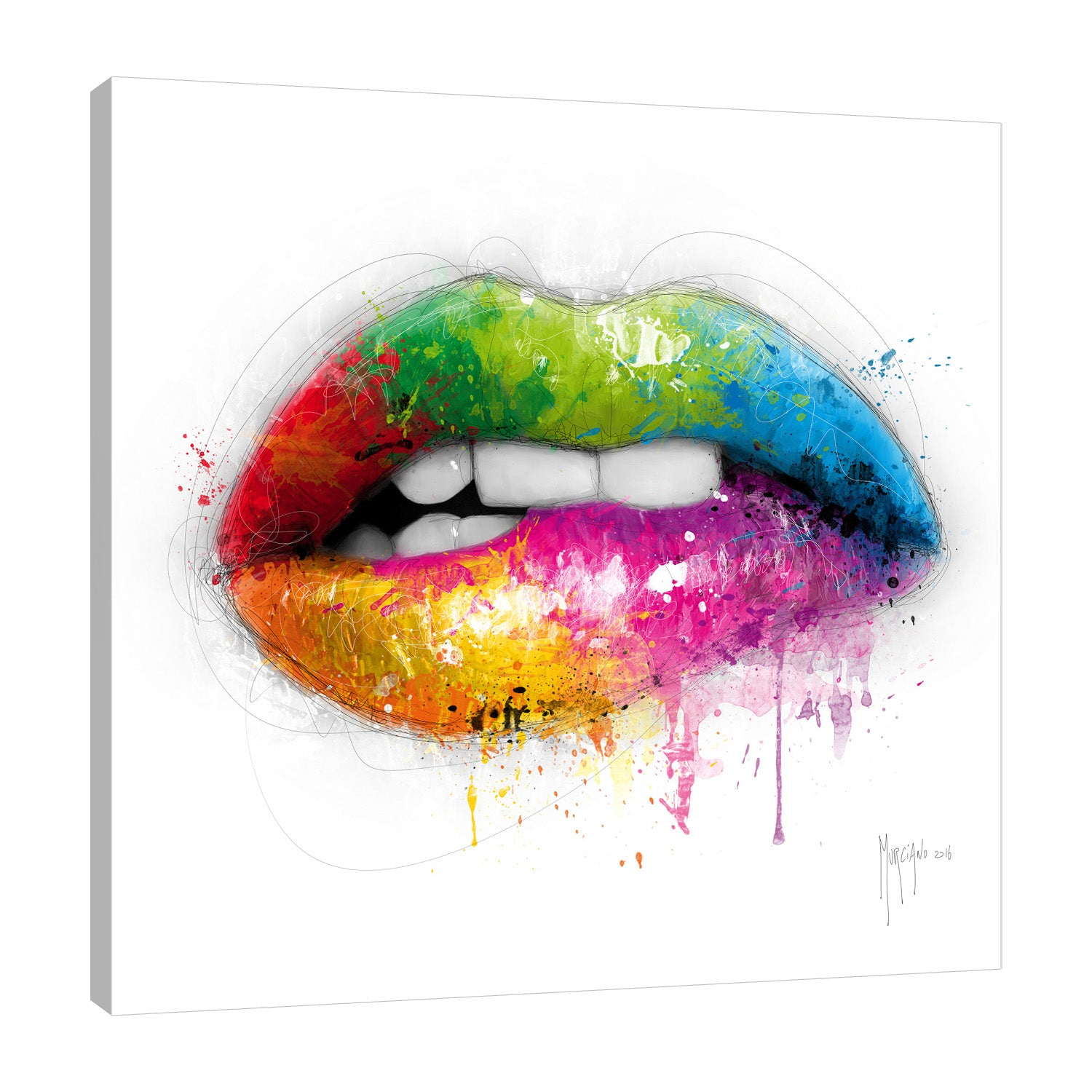 Patrice-Murciano,Modern & Contemporary,Fashion,lips,ombre,paint drips,splatters,Charcoal Gray,Red,White,Gray
