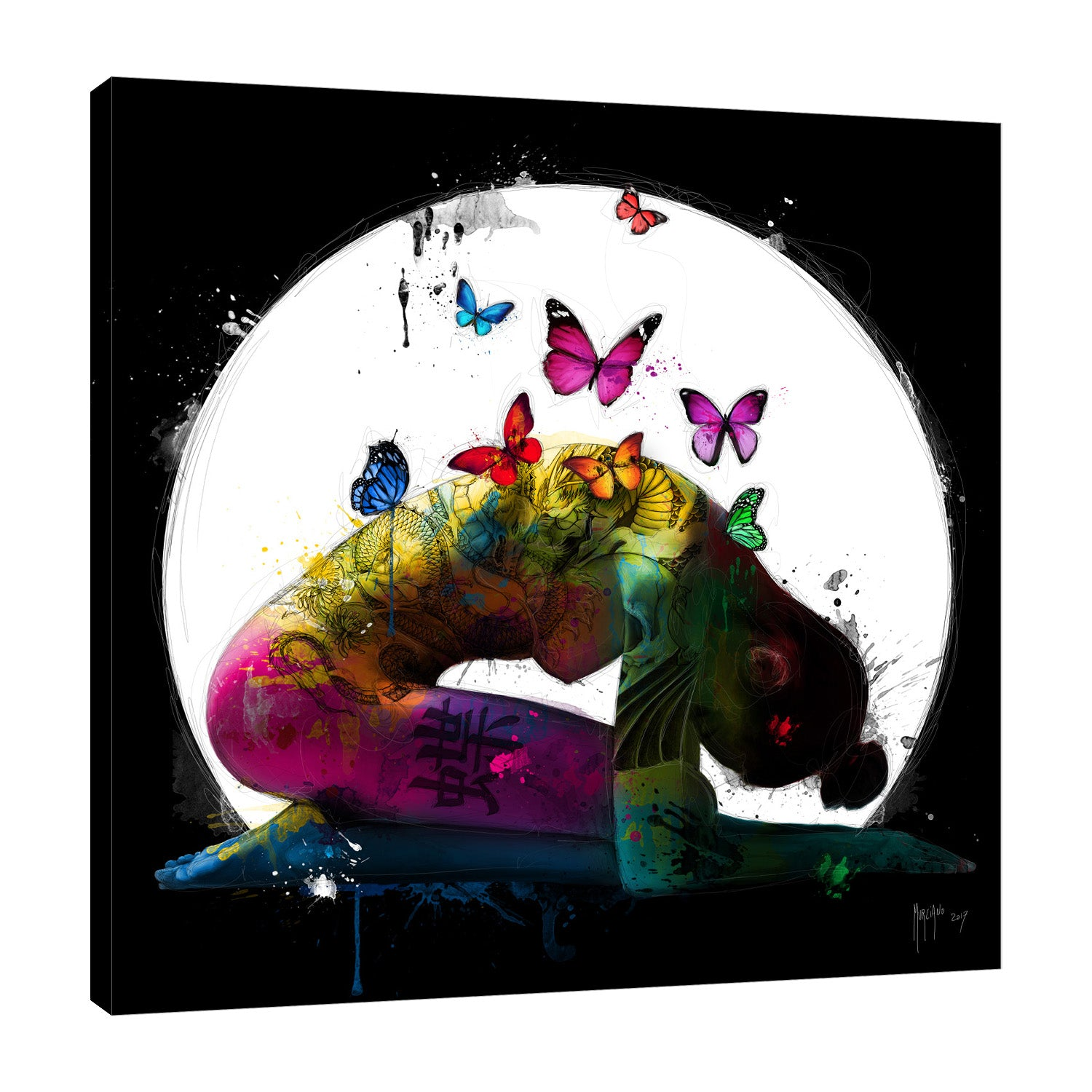 Patrice-Murciano,Modern & Contemporary,Fashion,butterflies,moon,woman,splatters,Red,Black,Blue,Purple,Gray