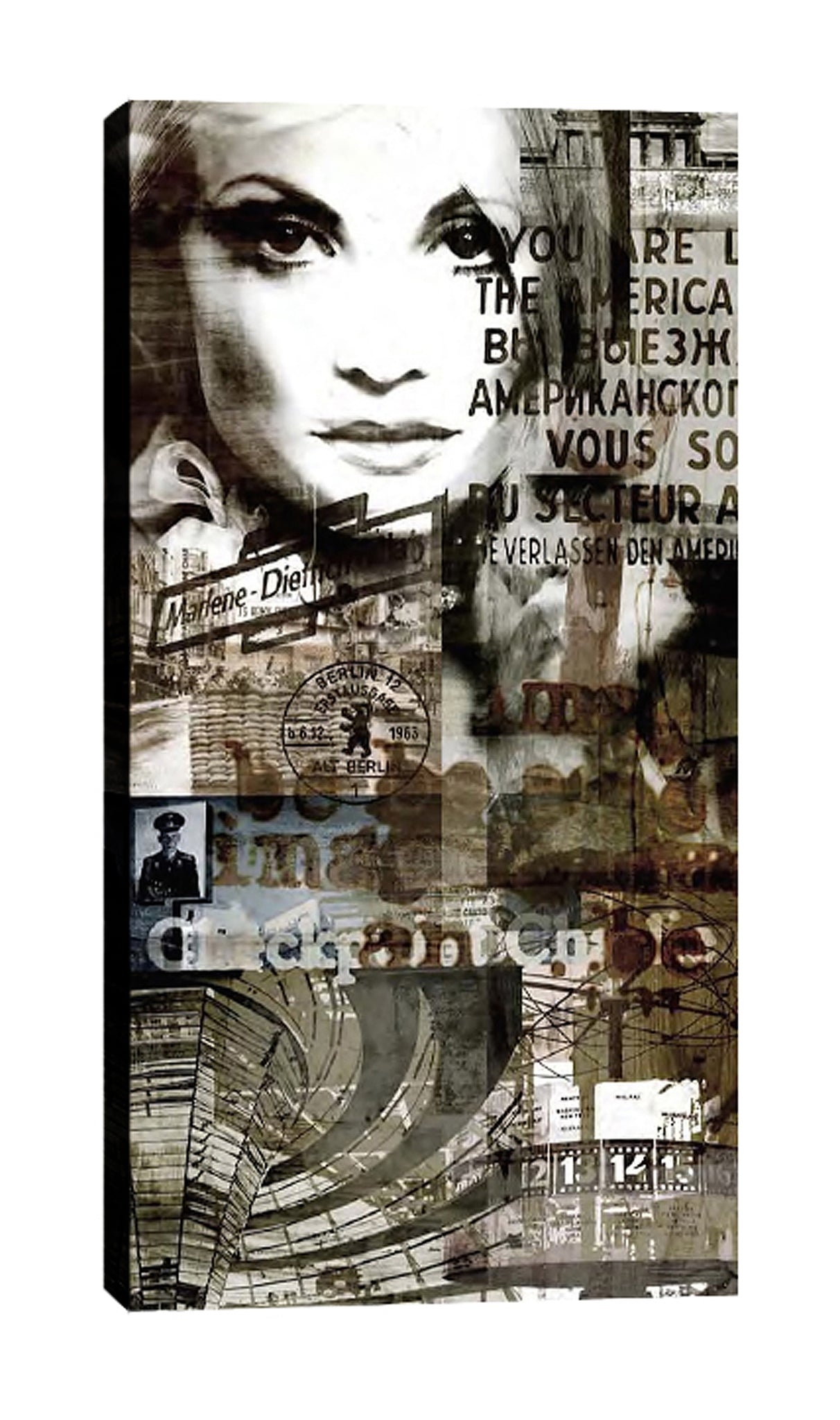 Sven-Pfrommer,Modern & Contemporary,Entertainment,Buildings & Cityscapes,People,woman,women,fashion,words and phrases,building,stamps,Charcoal Gray,Black,Blue,White,Gray