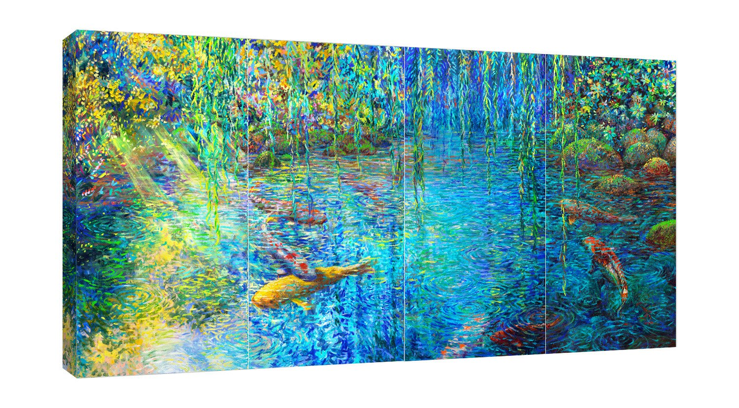Iris-Scott, impressionism, coastal, finger paint, fish, Impressionism, Iris-Scott, lagoon, Landscape & Nature, Modern & Contemporary, nature, surrealism, water, multi-panel