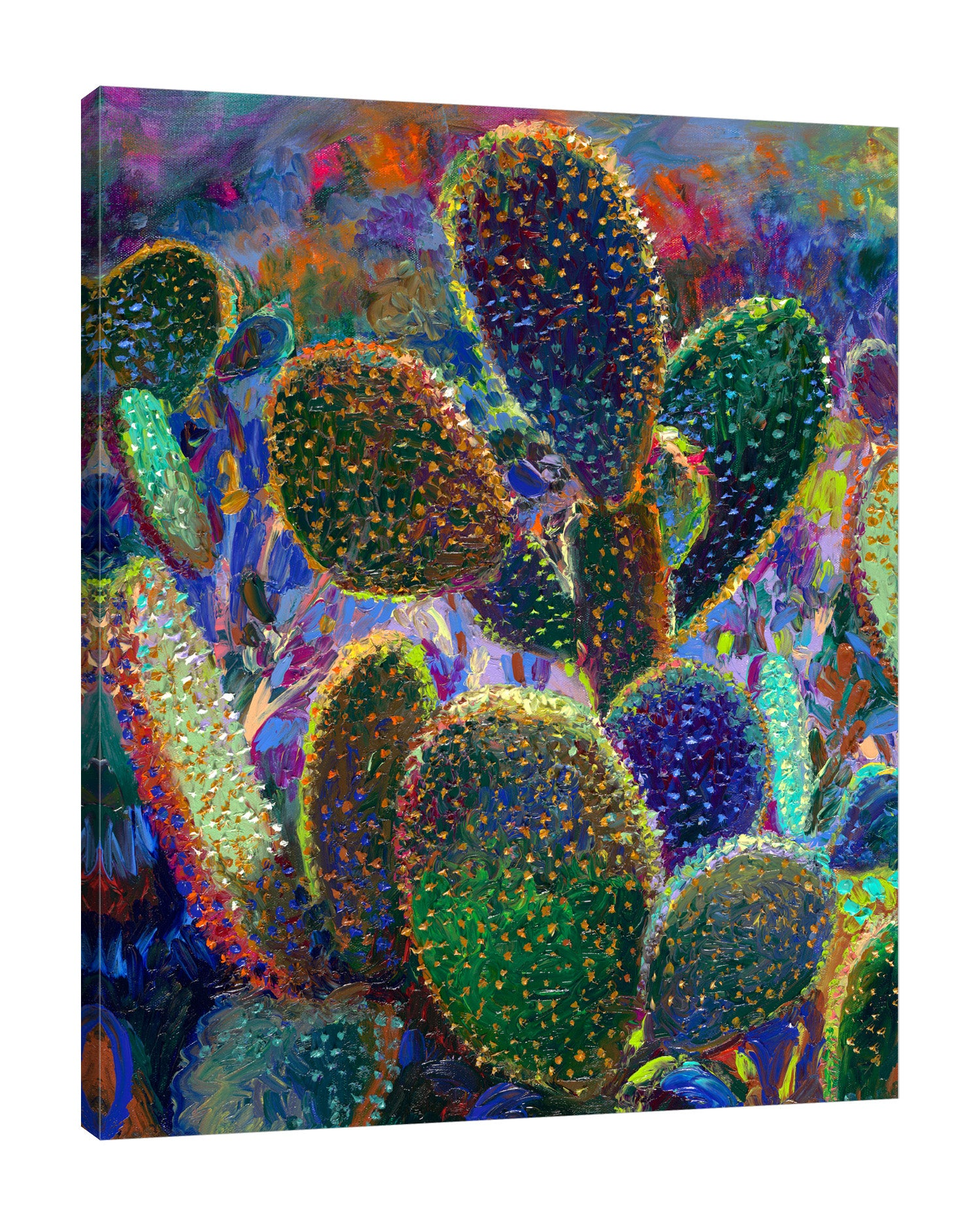 Iris-Scott,Modern & Contemporary,Floral & Botanical,Impressionism,surreal,finger paint,nature,scenic,landscape,floral,cactus,night,,