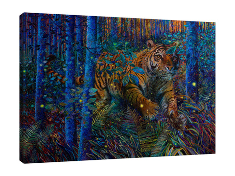 Iris-Scott,Modern & Contemporary,Animals,Landscape & Nature,Abstract,Impressionism,surreal,finger paint,animal,nature,scenic,landscape,tiger,jungle,night,,