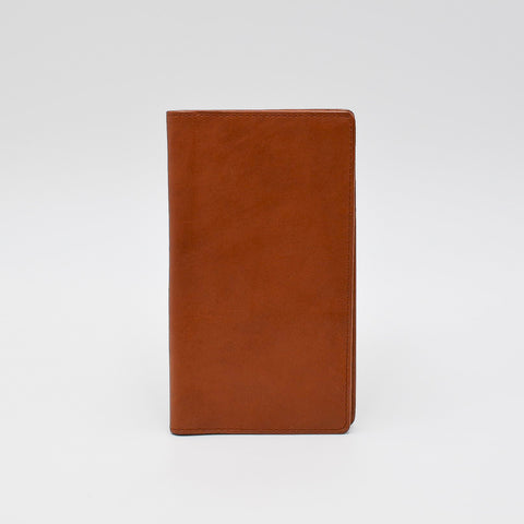 "Leather 391 6 3/4"" x 3 3/4"" Cover for wired or casebound inserts with memo note pad pocket with soft touch leather in light brown top quality leather"