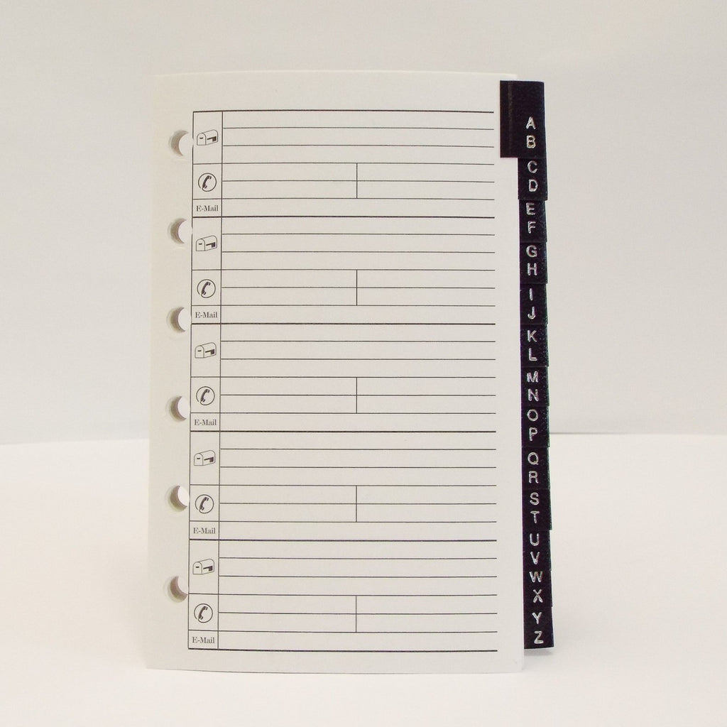 "Address Tabs: MA35P6-13 5"" X 3-1/8"" 6-Ring coach loose leaf refill paper leatherette tabs"