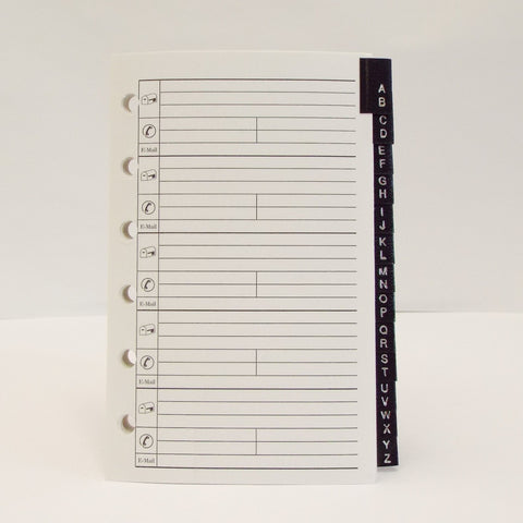 "Coach Address Tabs: MA35P6-13 5"" X 3-1/8"" 6-Ring coach loose leaf refill paper leatherette tabs 6 ring hole punched holes loose leaf leatherette tab tabs a to z alpha alphabet addresses insert inserts refill refills MP35P6 planner organizer desk travel pocket planner at-a-glance bosca Louis Vuitton"