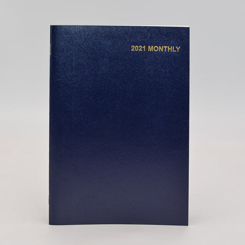 "Monthly Calendar: 7"" x 10"" Staple Bound Leatherette Planner   January 2021-January 2022  Available in Forrest Green and Navy Blue  This Month-at-a-glance calendar includes additional pages, such as: personal information page, three year calendar, future planning for 2021 and 2022, metric conversion, special information, air distances, investment record, dividends & investment record, expense summary, telephone/address, important dates, special dates, area codes/time zones"